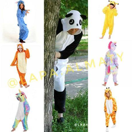 Пижамы кигуруми Единороги пони Стич Жираф Пикачу Панда Тигр Кошка