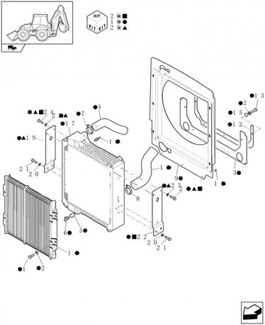 Radiator buldoexcavator New Holland LB 90 95 110 115 Case 580 SM SR