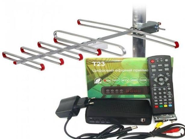 Отау + Антенна с усилителем домашняя 25 каналов бесплатно Т2 тюнер ТВ