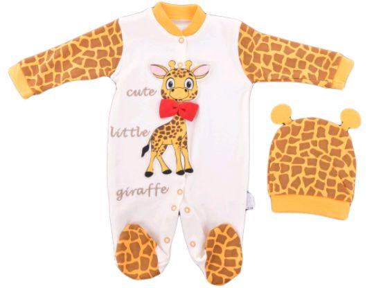 Бебешки гащеризон + шапка жираф