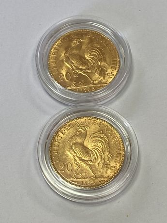 Moneda aur 20 franci, 6,45 grame, 22 karate. Cocosel.