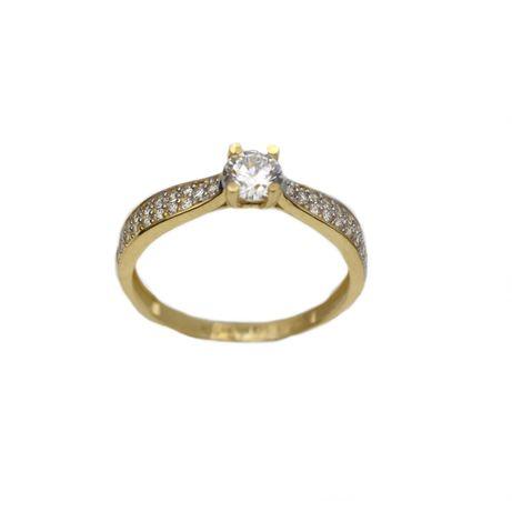 Inel aur galben logodna cu zirconiu - DA307