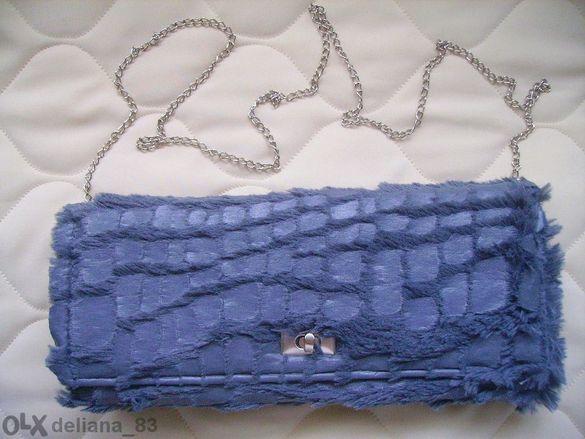 Намаление! Нова сива дамска чанта от интересна материя