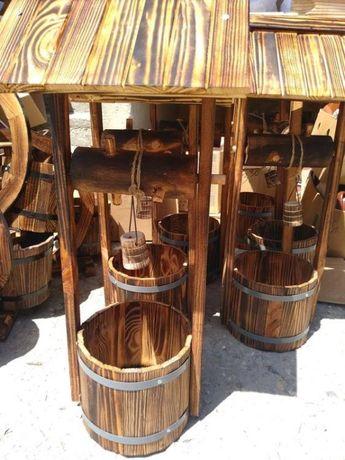Дървен кладенец - декоративна фигура за градина и механа 78 х 33 см