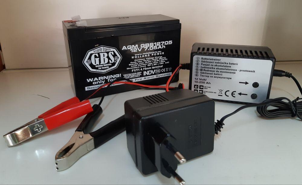 Set acumulator 12V 7Ah cu incarcator 12V 0.3A 12V 7A Plumb Acid GBS Bucuresti - imagine 1