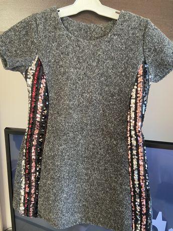 Зимна детска рокля сива с пайети 4-5г