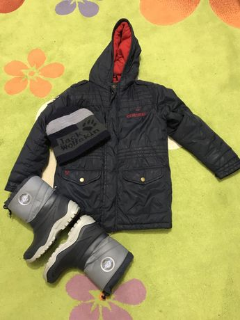 Сет зимна шуба, ботушки и шапка