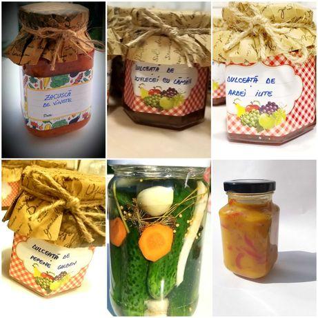 produse traditionale: zacusca, gogosari in sos si dulceata