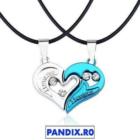 Pandantiv / Colier / Lantisor - Cuplu I LOVE YOU - Alb si Albastru