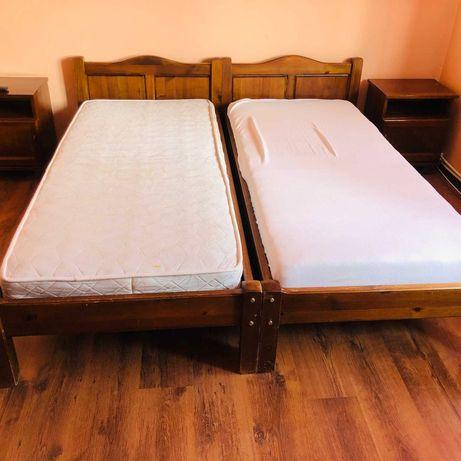 Дървени единични легла с матраци
