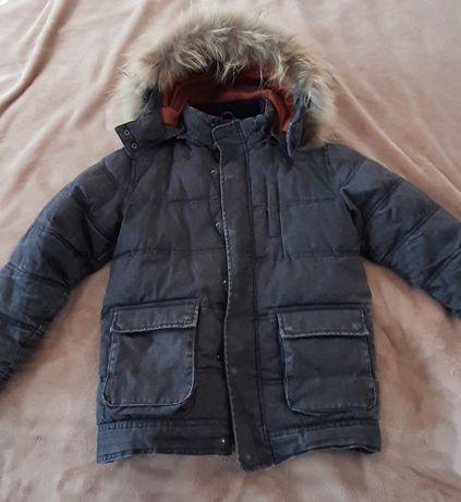 Детско зимно яке естествен пух от лисица на качулката
