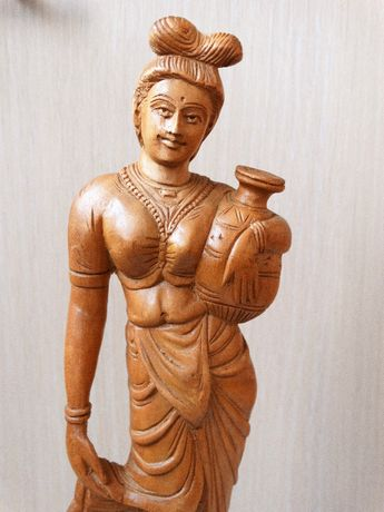 FEMEIE CU ULCIOR Statueta Handmade India Sculptura Figurina Bibelou