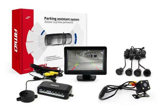 Комплект 4 черни сензора за паркиране , Дисплей TFT 4,3
