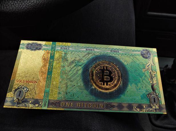 Vând bancnote BITCOIN gold 24k polymer