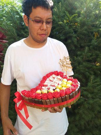 Доставка подарков и цветов по Алматы.Доставка букетов из конфет