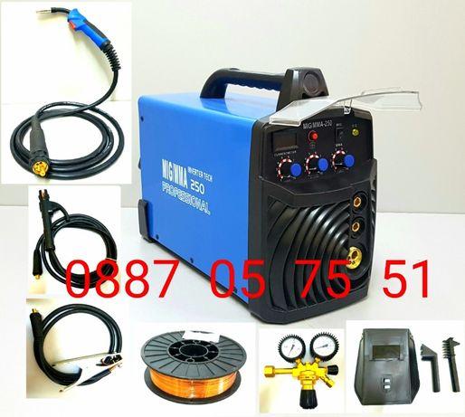 Инверторен телоподаващ апаратММА/MIG 250А СО2 + Електрожен