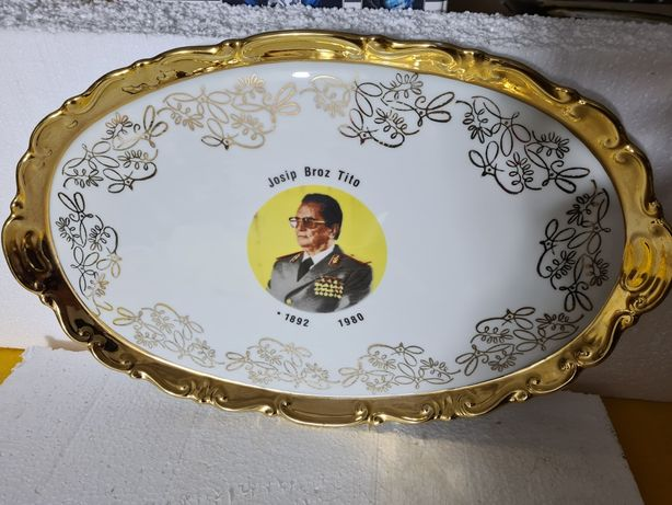 Platou suflat cu aur și personalizat Josip Broz Tito