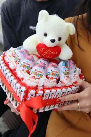 Доставка подарков для любимой! Конфеты, цветы и мягкие игрушки!