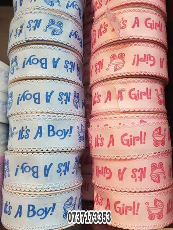 Panglica/Banda din satin- It's a Boy/It's a girl -4cm /2,5cm/1,2cm