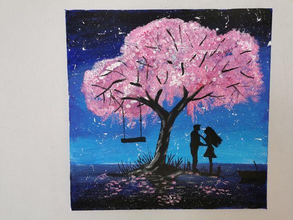 Красива авторска картина - акрил, канава, нощен пейзаж, 40 х 40 см
