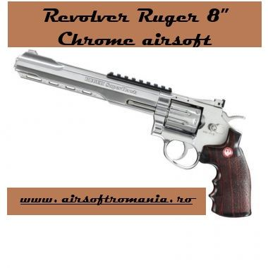 """Revolver METAL RUGER SUPERHAWK 8"""" CO2 Puternic 4 Joules Chrome"""