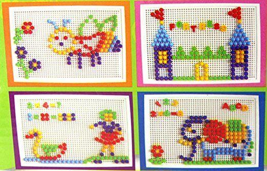 Mozaic cu pioneze normale + pioneze cifre si litere Jucarii Montessori