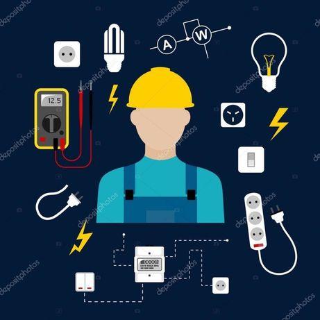 Услуги электрика в Астане электромонтаж люстра установка плиты духовки