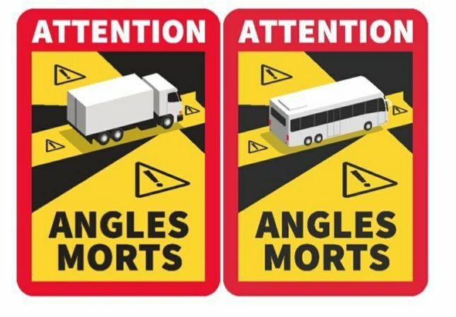 Autocolante Attention Angles Morts, Stickere Unghi Mort Franta