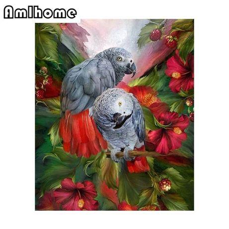 goblen diamant papagal jako tablou decor fara ata si ac diy