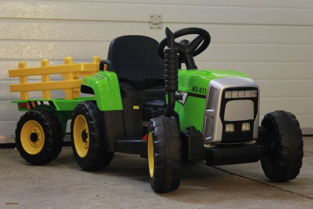 Tractoras electric pentru copii BJ-611 60W cu remorca STANDARD #Verde