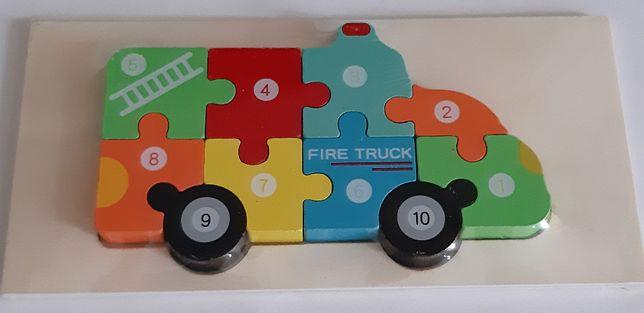 Puzzle lemn 3D Montessori, Camion pompieri cu cifre, 10 piese