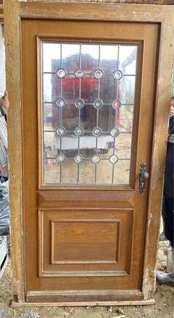 Usa casa vila firma intrare lemn geam vitraliu termopan H 220 x 115