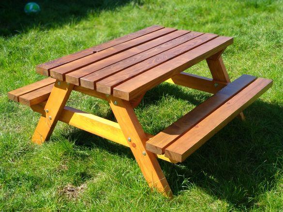 Детска градинска пейка / маса от дърво масив