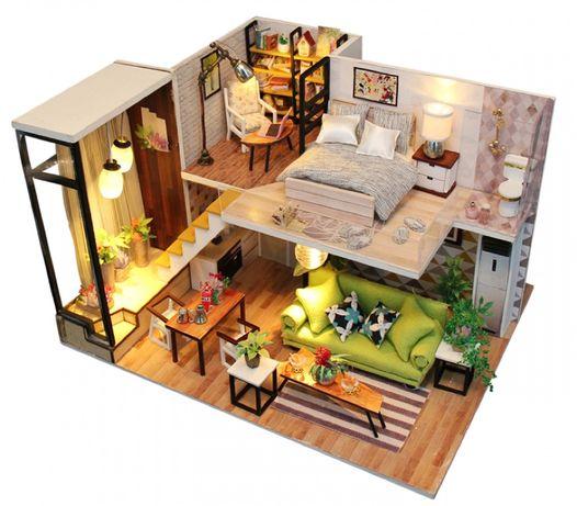 Casa de papusi moderna living+dormitor Diorama din lemn 3D luminata