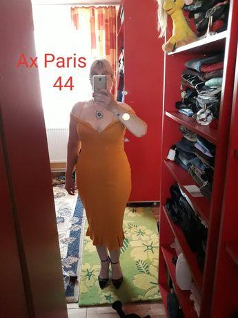 Rochie midi muștar Ax Paris 44, cu volan, umeri căzuți