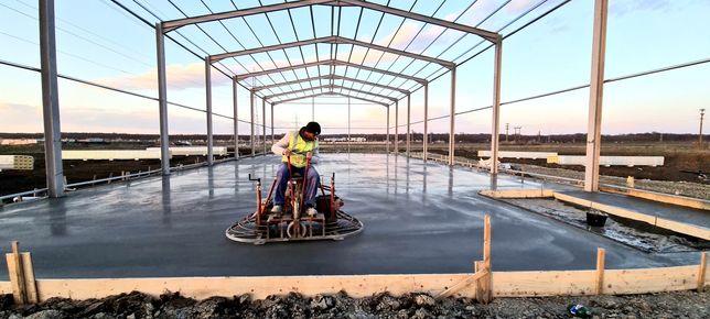 Turnare beton finisat cu elicopter si cuart, sclivisit, slefuit