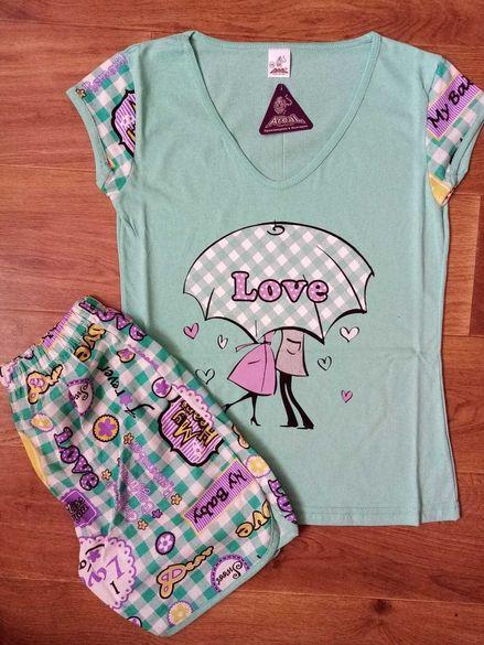 Дамска памучна пижама S- XL