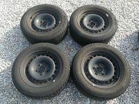 4 железни джанти 16 5х120 със зимни гуми R16 205/60 Bridgestone
