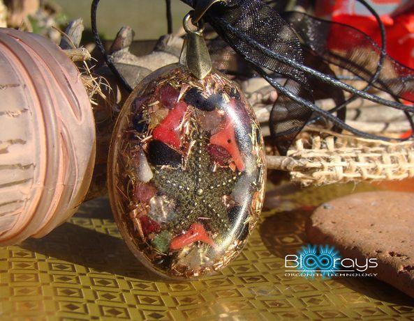 Pandantiv Oval cu Onix Negru, Coral Rosu, Apatit, Turmalina Multicolor