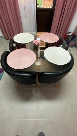 Masa sticla cu 4 scaune
