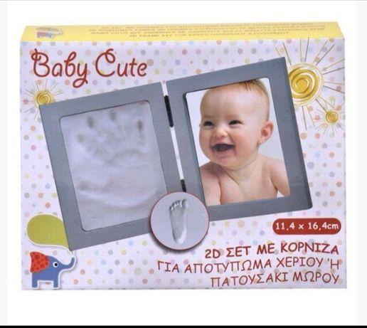 Рамка снимка снимки и кръче  Глинен отпечатък за ръчички на бебе дете