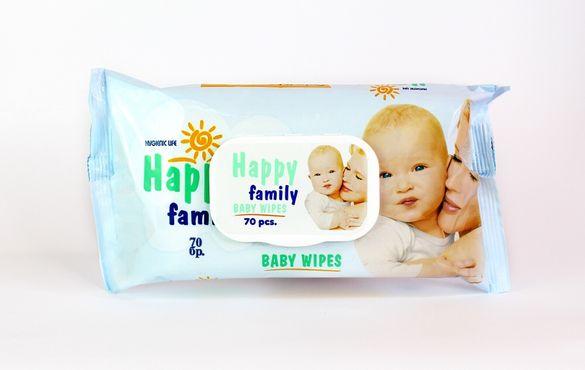 "Бебешки мокри кърпи ""Хепи Фемили"" 70бр"