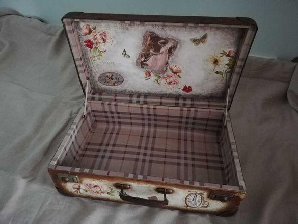 Ретро куфар декориран,ВИНТИДЖ, декупаж, ръчна изработка