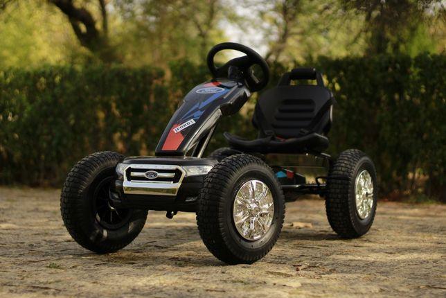Masinuta GO Kart cu pedale Ford pentru copii, roti Gonflabile #Negru