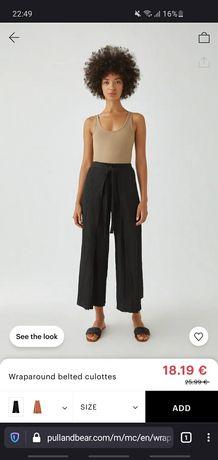 Pantaloni culotte tip pareo cu cordon