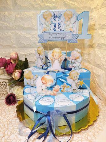 Картонена торта+2бр банери за кръщене и първи рожден ден