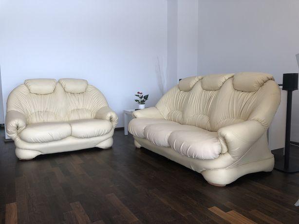 Canapea piele extensibila 3 locuri + canapea piele 2 locuri