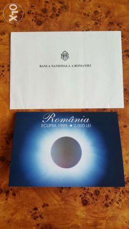 Banconta 2000 lei de colectie - Eclipsa din 1999 - seria 001A