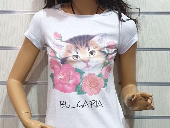 Страхотна нова дамска тениска с котенце, рози
