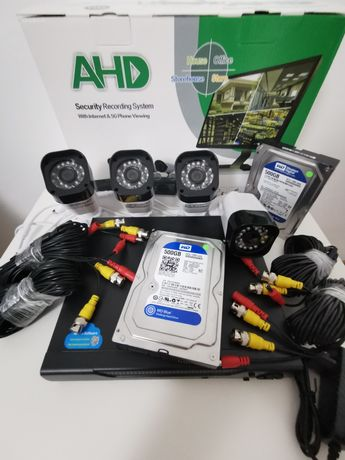 Sistem supraveghere video 3Mpx 4camere FullHD + Hard Disk 500GB CADOU
